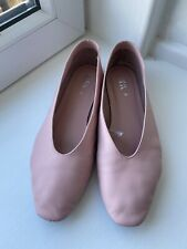 Zara Soft Pink Leather Loafers Size 5