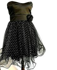 Black Strapless Sparkly Flirty PROM Club Party Dress Size 3 Satin & Wired Tulle