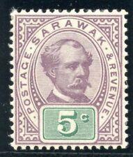 Sarawak 1891 QV 5c purple & green MLH. SG 12. Sc 12.
