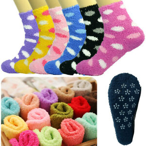 10 Pairs For Womens Winter Home Non-Skid Cozy Fuzzy Soft Dots Slipper Socks 9-11