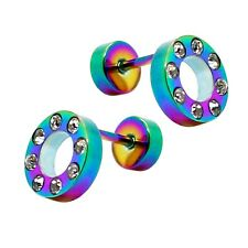 2 Stainless Steel Fakeplugs Strass Tunnel Piercing Earring Black Rainbow White