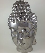 "Silver-tone Chrome Ceramic Buddha Head Wall Hanger ~ Large 13-1/4""."