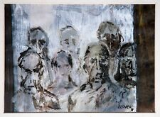 Gerhard Elsner 1930-2017: Junge Frau im Kreis von Passanten Öl-Gemälde