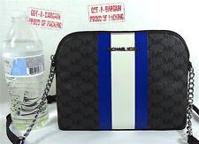 Michael Kors Jet Set Cindy BLACK Multi Center Stripe Dome Crossbody Bag