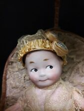 Antique German Bisque Googily Doll in Antique Chair Covered in Lace