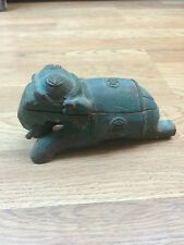 Antique Primitive Wood Elephant W/ Brass & Hidden Trinket Keepsake Box Green