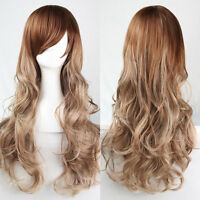 New Women's Fashion Long Curly Wavy Brown Ombre Wigs Cosplay Party Hair Full Wig