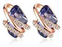 """Wish Stone"" Swarovski Crystal Birthstone Earrings, 18K Rose Gold/Silver Plated"