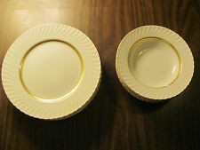 Mikasa Fine China Japan 473 Golden Swirl Plate And Bowl Set. 10 Total Items.