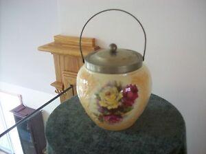 Biscuit Jar Porcelain High Gloss Antique Rose Floral Spray Pattern & EPNS Metal
