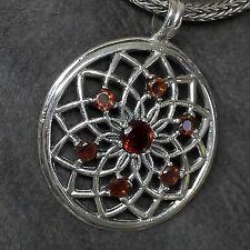 wunderschön Blume des Lebens Energie Anhänger Kraftamulett 925 Silber Granat