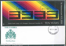 Gambia 10th Annivrsary Of September 11th, 2001 Sheet First Day Cover