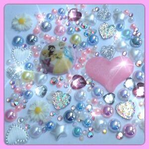 Pink Disney Princess Theme Cabochon Gem & pearls flatbacks for decoden crafts #1