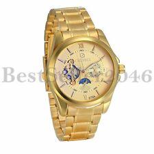 Luxury Gold Tone Skeleton Auto-Mechanical Men's Moon Star Steel Band Wrist Watch