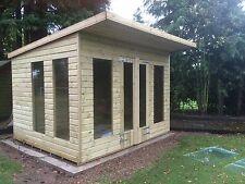 12x8' Wooden Flat Roof Summerhouse/4ft Wide Double Door and 4 Fix Windows
