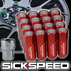 SICKSPEED 16 PC RED/POLISHED CAPS ALUMINUM 60MM LOCKING LUG NUTS 12X1.25  L11