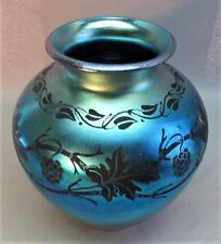 """Rare 10.5"""" STEUBEN BLUE AURENE Engraved Blackberry Art Glass Vase  c. 1915"""
