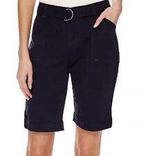 New Gloria Vanderbilt Sierra Belted Stretch Bermuda Shorts Sz.10 Mid.nite Navy