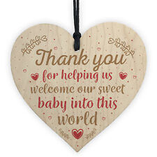 Handmade Wooden Heart Plaque Gift For Midwife Newborn Baby Thank You Gift