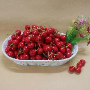 50 Pcs Cherry Red Mini Artificial Fake Imitation Plastic Cherry Room Decoration