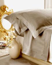 Completo Lenzuola Matrimoniale Raso di Puro Cotone Aurora Tortora Orlo a Giorno