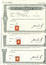 KGVI 2d Perfins or Overprints on Sun Life Assurance Receipts. All Priced