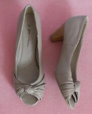 "Ladies beige leather peeptoe 2"" heel  shoes UK3"