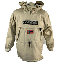 Napapijri Mens Ski Snowboard Winter Coat Jacket Beige Hooded Pockets Parka Large