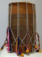 More details for dhol drum talli rosewood with pompoms. made in india. xmas birthday gift present