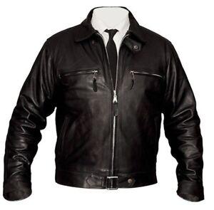 German Luftwaffe Men's Black Cowhide Biker Style Real Leather Jacket 5074