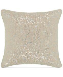 "Hotel Collection Distressed Chevron 18"" Cotton Metallic Decorative Pillow - Gold"