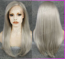 Long Grey Lace Front wigs Gray Women Front lace hair wig Girl Woman Greyish Gift