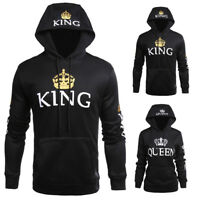 Women Men Matching Couple Hoodie King and Queen Couple Sweatshirt Pullover Coat