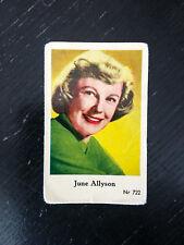 1956 VINTAGE SWEDISH DUTCH GUM MOVIE STAR CARD #NR 722 June Allyson PSA NR722