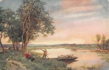 Collie & Woman Near Man With Sheep in Boat on River-At The Crossing-Old PC-3808