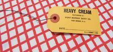 VINTAGE CREAMERY - HEAVY CREAM CARD STOCK WITH WIRE - PORT MURRAY DAIRY NJ