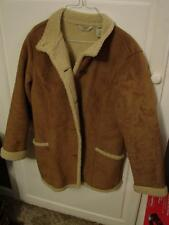 L.L. Bean 0WL05 Tan Sherpa Lined Jacket Size Medium Button Front NICE