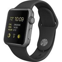 NEW! Apple WATCH SPORT 42mm Space Gray Aluminum Case Black Sport Band