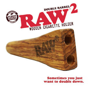 RAW DOUBLE BARREL KING SIZE Wooden Cigarette/Cone/Joint Holder + Drawstring Bag