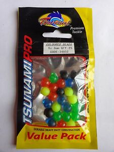Tsunami coloured 8mm beads pack of 25 Blue, Black, Green, Yellow & Red