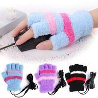 Women Ladies USB Heating Hand Warm Gloves Heated Fingerless Plush Warmer Mittens