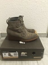 Sorel Toronto Green Suede Leather Lace Up Wedge Waterproof Boots Women's 8 / 39