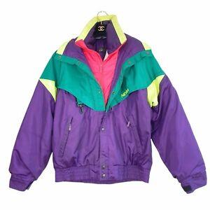 Vintage Nevica Green Purple Neon Retro 80s/90s Insulated Ski Jacket/Coat M L 38m