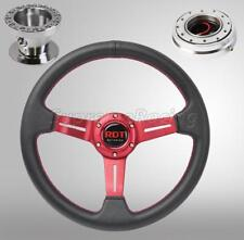 Red Steering Wheel Combo Kit w/Quick Release PO For Mitsubishi Eclipse 1990-2003