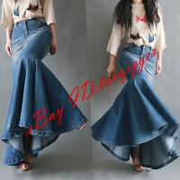 Women Fishtail Denim Maxi Retro Casual Skirts Custom Fit Ball Gown Long Dress 17