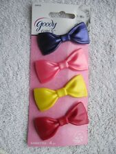 "4 Goody Girls Plastic Bow Metal Stay Tight Put 2"" Hair Barrettes Secure Clasp"