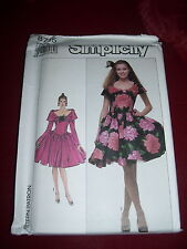 SIMPLICITY #8715 - LADIES OFF SHOULDER - POOF SKIRT COCKTAIL GOWN PATTERN  14 uc