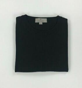 Men's Black Canali Jumper Size 52 Large L Cotton Crewneck Sweater Pullover A*