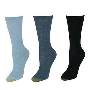 New Gold Toe Women's Non Binding Ribbed Crew Socks (3 Pair Pack)