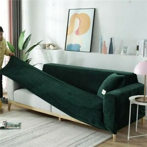 Dark Green Velvet Stretchable Sofa Cover, Stretch Couch Covers, Pillow covers